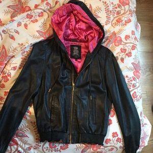 Lambs leather hoodie jacket
